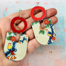 Load image into Gallery viewer, Birds & Blossoms Chunky Horseshoes Zero Waste Tin Earrings