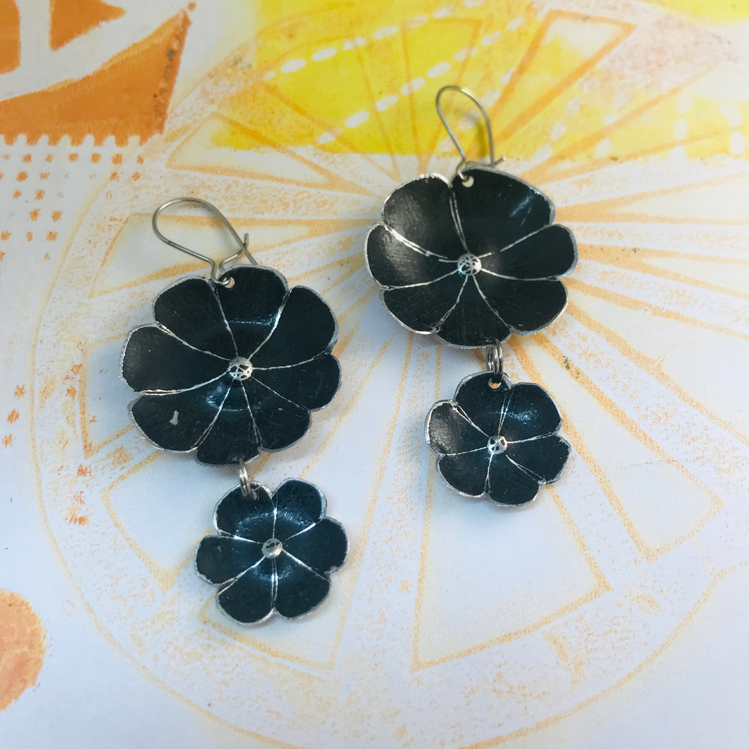 Double Black Double Flower Tin Earrings