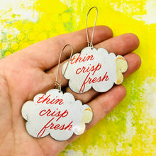 Load image into Gallery viewer, Thin Crisp Fresh Clouds Upcycled Tin Earrings