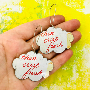 Thin Crisp Fresh Clouds Upcycled Tin Earrings
