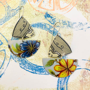 Blue & Yellow Flowers Little Sailboats Tin Earrings