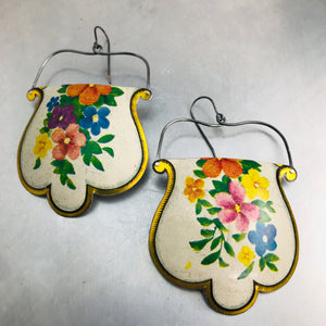 Vintage Flowers on White Rounded Shape Recycled Tin Earrings