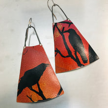 Load image into Gallery viewer, Spooky Halloween Ravens on Orange Upcycled Tin Earrings