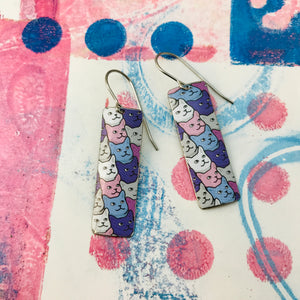 Cat Face Pattern Upcycled Tin Rectangle Earrings