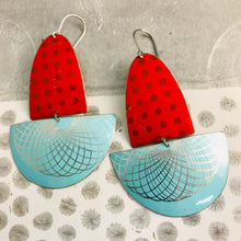 Load image into Gallery viewer, Red Polka Dots & Aqua Spirograph Upcycled Tin Boat Earrings