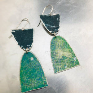Mod Matte Mixed Teals Arches Zero Waste Tin Earrings