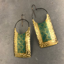 Load image into Gallery viewer, Teal Golden Edge Upcycled Tin Earrings