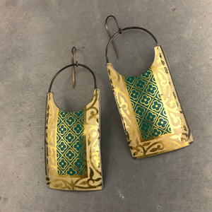 Teal Golden Edge Upcycled Tin Earrings