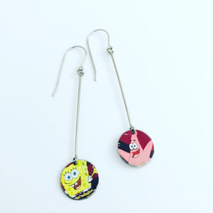 Sponge Bob & Patrick Long Dot Upcycled Tin Earrings