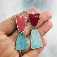 Load image into Gallery viewer, Mod Matte Raspberry & Aqua Arches Zero Waste Tin Earrings