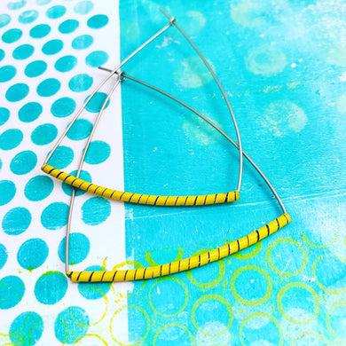Yellow Spiraled Tin Triangle Hoop Earrings