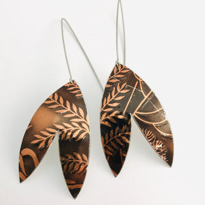 Copper Leaves Double Leaf Upcycled Tin Earrings