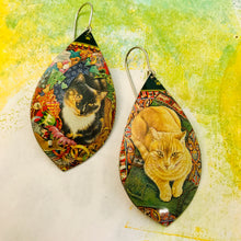 Load image into Gallery viewer, Calico & Tabby Upcycled Long Pod Tin Earrings