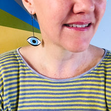 Load image into Gallery viewer, Protective Green Eye Upcycled Tin Earrings