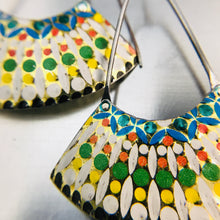 Load image into Gallery viewer, Vintage Mosaic Large Fan Recycled Tin Earrings