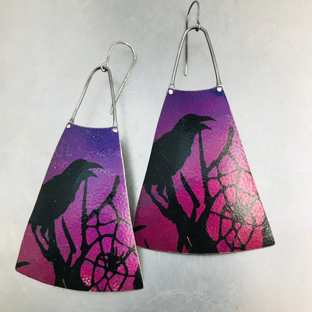 Spooky Halloween Raven Upcycled Tin Earrings