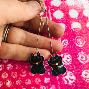 Little Lucky Cats in Black Upcycled Tin Earrings