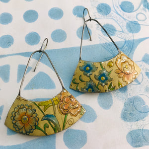 Vintage Flowers Wide Arc Zero Waste Earrings