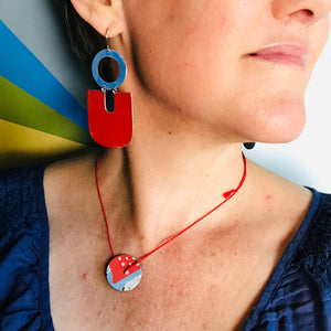Deep Red & Cornflower Chunky Horseshoes Zero Waste Tin Earrings