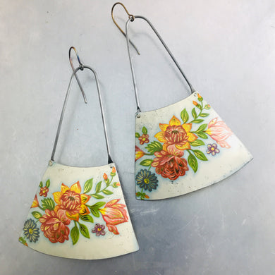 Orange and Pink Flowers on White Recycled Tin Earrings
