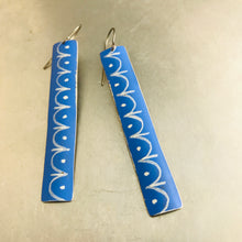 Load image into Gallery viewer, Cornflower and White Bunting Pattern Recycled Tin Earrings