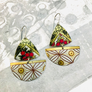 Mixed Golden Patterns Little Sailboats Tin Earrings