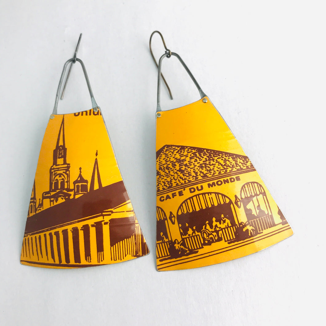 Cafe du Monde Coffee Wide Fan Upcycled Vintage Tin Earrings