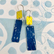 Load image into Gallery viewer, Bright Yellow & Ocean Blue Recycled Tin Earrings