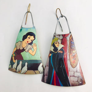 Snow White & Evil Queen Upcycled Vintage Tin Earrings