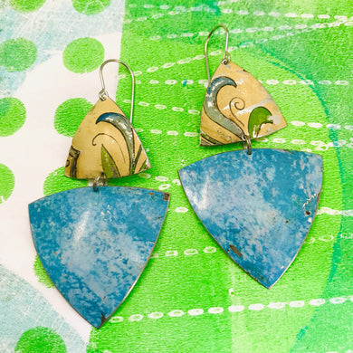 Mottled Blue & Vintage Leaves on Cream Tourmaline & Zero Waste Tin Earrings Ethical Jewelry