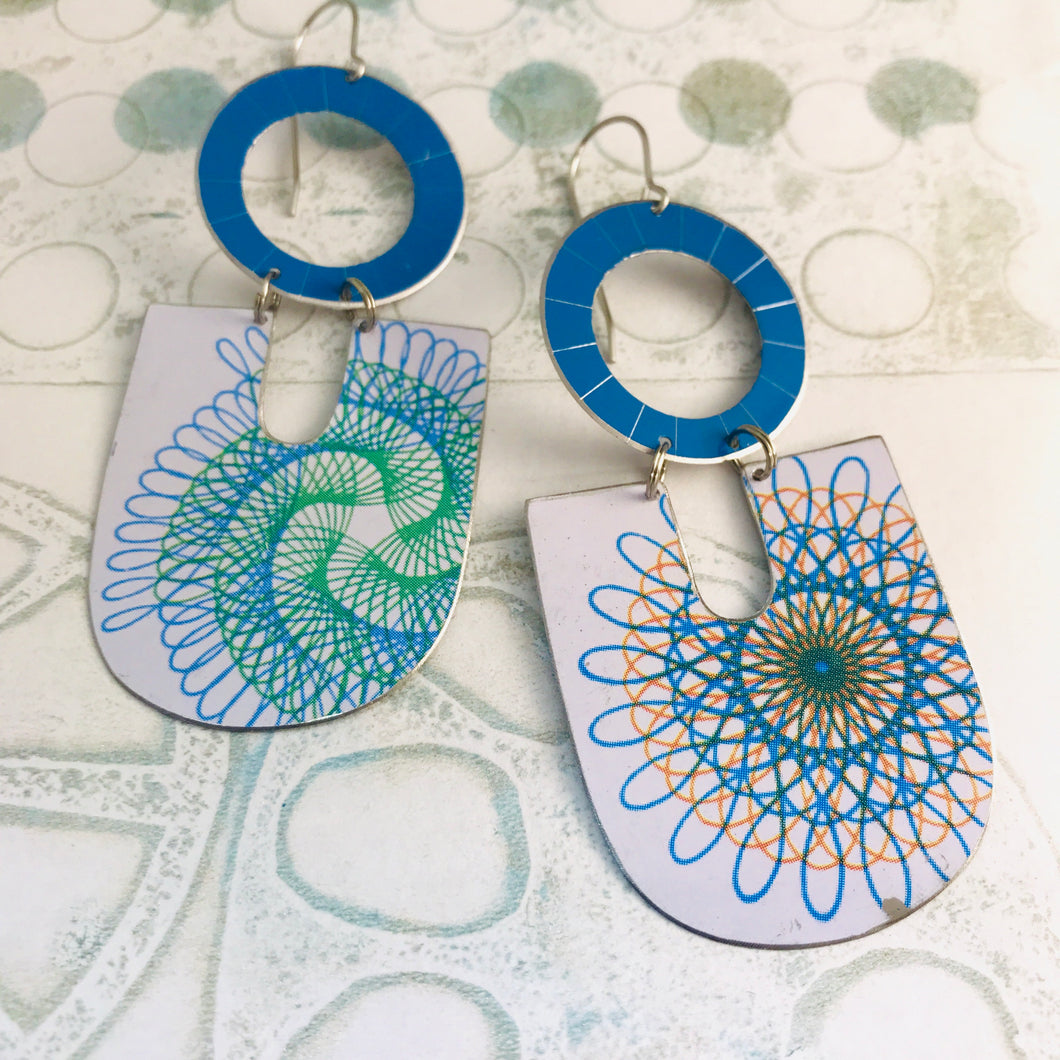 Spirograph Chunky Horseshoes Zero Waste Tin Earrings
