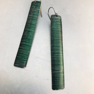 Etched Shimmery Forest Long Narrow Tin Earrings