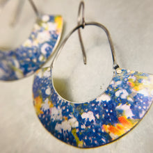Load image into Gallery viewer, Field of Bluebonnets Half Moon Recycled Tin Earrings