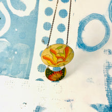 Load image into Gallery viewer, Flowered Oval & Green Crescent Zero Waste Tin Necklace