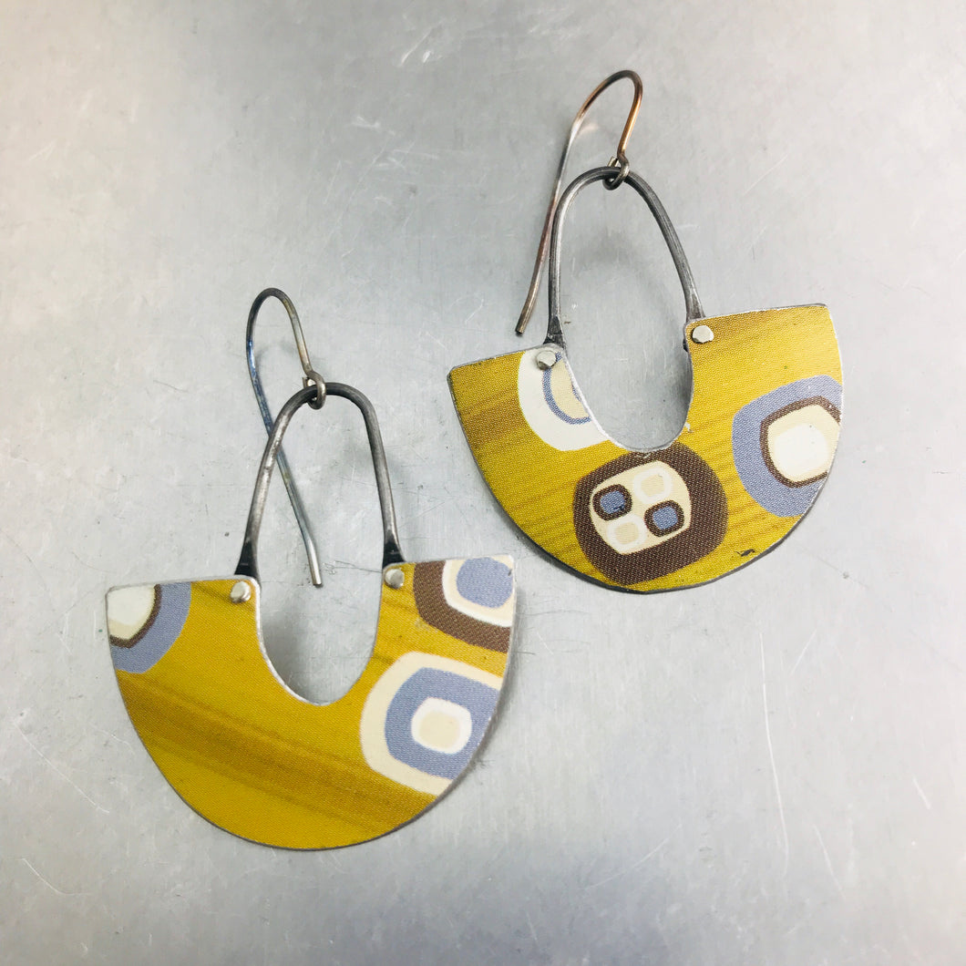 Mod Golds & Slate Little Us Upcycled Tin Earrings