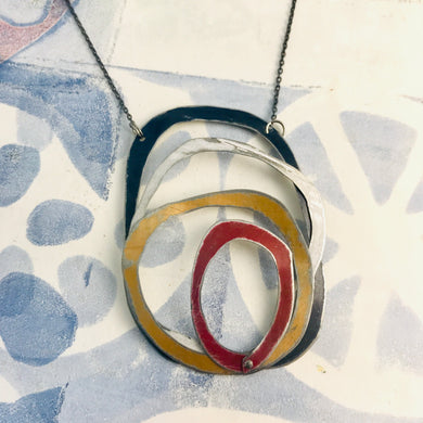 Twilight, Snow, Gold, & Scarlet Scribbles Upcycled Tin Necklace