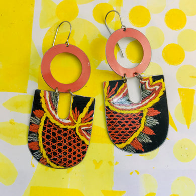 Crewel Work Chunky Horseshoes Zero Waste Tin Earrings