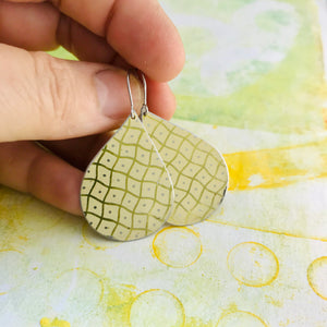 Wavy pale Yellow Checkerboard  Upcycled Teardrop Tin Earrings