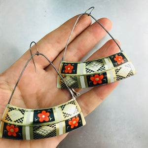 Orange Blossoms Wide Arc Recycled Tin Earrings