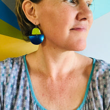 Load image into Gallery viewer, Matte Aqua and Butter Upcycled Tin Boat Earrings