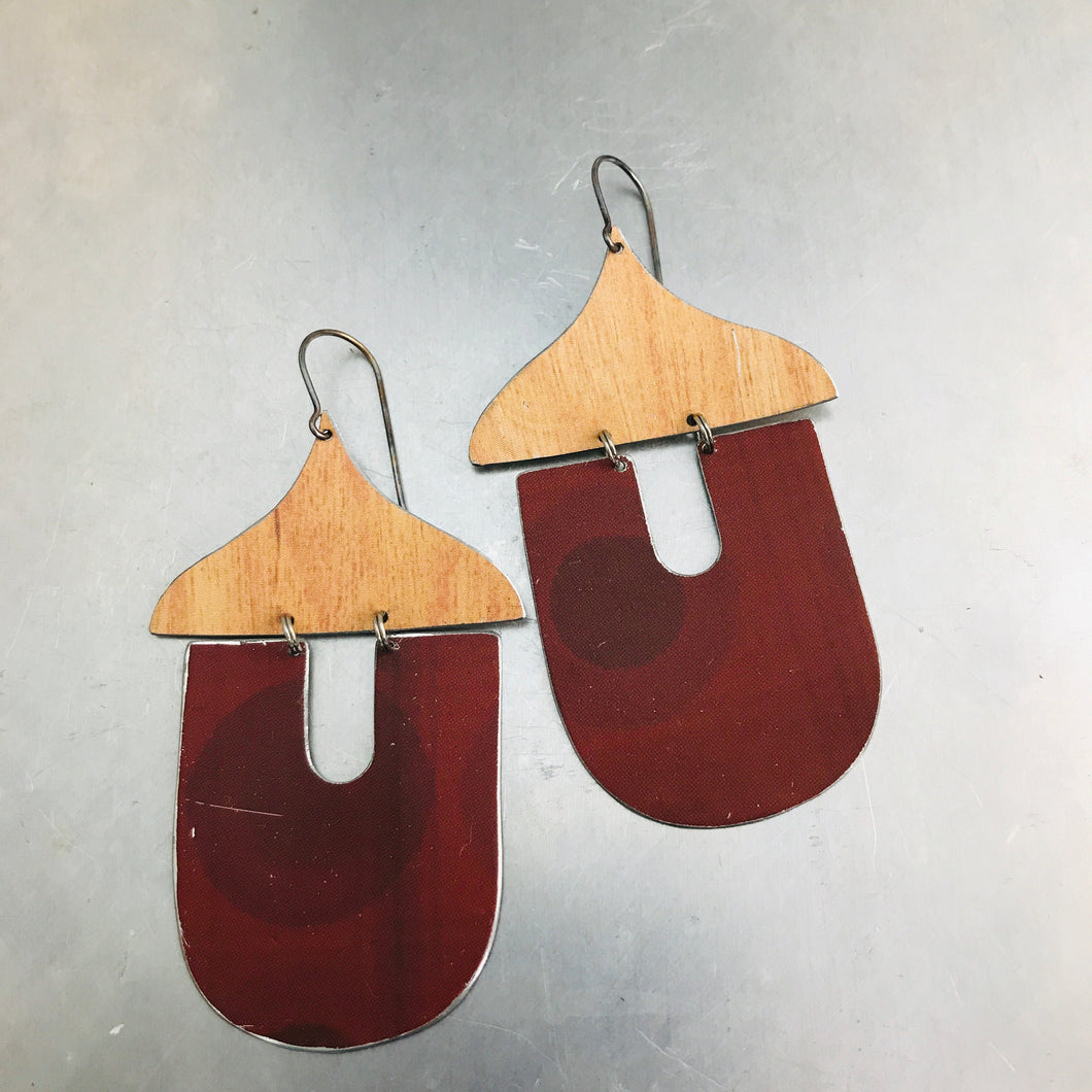 Chestnut Acorns Upcycled Tin Earrings