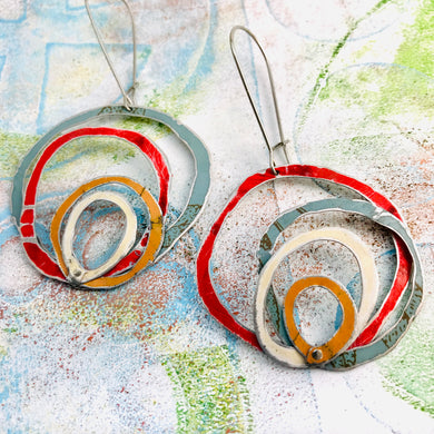 Slate, Scarlet, Butterscotch & Cream Scribbles Upcycled Tin Earrings