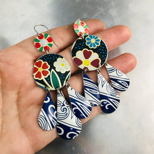Mixed Dark Blues & Flowers Zero Waste Tin Chandelier Earrings