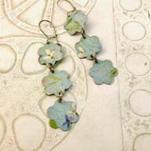 Load image into Gallery viewer, Faded Denim Flowers Upcycled Rectangles Tin Earrings