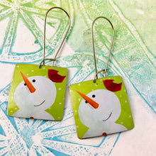 Load image into Gallery viewer, Snowmen & Cardinals Square Upcycled Tin Earrings