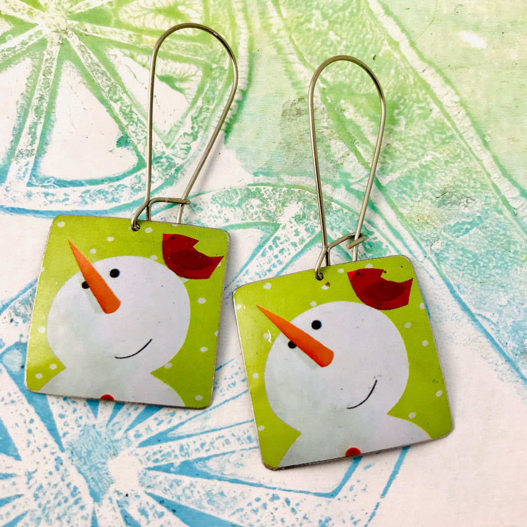 Snowmen & Cardinals Square Upcycled Tin Earrings