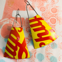 Load image into Gallery viewer, Chupa Chups Red & Yellow Zero Waste Tin Long Fans Earrings