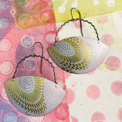 Sunflower Gibbous Moon Recycled Tin Earrings