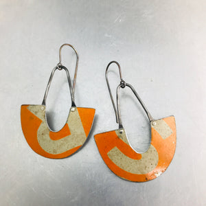 Vintage Orange R&S Little Us Upcycled Tin Earrings