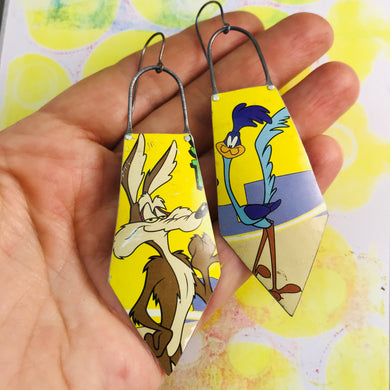 Wile E. Coyote & Roadrunner Recycled Tin Earrings